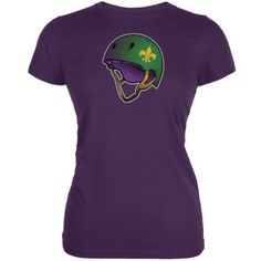 Mardi Gras Cajun Roller Derby Helmet Purple Juniors Soft T-Shirt - Medium, Women's