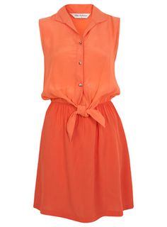 Coral tie front dress, $61