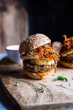 Sunflower Seed Veggie Burgers with Grilled Halloumi + Curried Tahini Sauce.