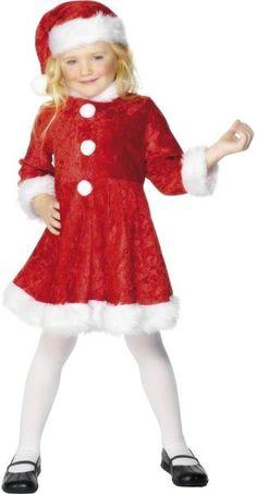 Lasten Naamiaisasu; Tonttutyttö punaisen värisenä valkoisilla trimmauksilla. Joulu on taas, Joulu on taas, kattilat täynnä puuroo… #naamiaismaailma