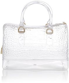 Furla Candy Transparent Bowling Bag in White (Clear) | Lyst