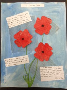 Remembrance Day poppies - art and creative writing Remembrance Day Activities, Remembrance Day Art, Grade 1 Art, Grade 3, Ww1 Art, Art For Kids, Crafts For Kids, Anzac Day, Art Lessons Elementary