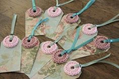 alice brans posted pretty crochet tags = scrapbook paper, yarn & ribbon to their -crochet ideas and tips- postboard via the Juxtapost bookmarklet. Crochet Gifts, Knit Crochet, Yarn Crafts, Paper Crafts, Scrapbook Paper, Scrapbooking, Handmade Gift Tags, Paper Tags, Card Tags