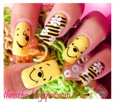 Trendy Nails Art Disney Winnie The Pooh Trendy Nail Art, Cool Nail Art, Love Nails, Fun Nails, Camo Nails, Nail Art For Kids, Nail Designer, Disney Nails, Creative Nails