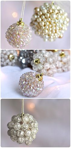 Decoração de Natal 2017 - Idéias para enfeitar a casa Noel Christmas, Christmas Balls, Winter Christmas, All Things Christmas, Homemade Christmas, Christmas Spheres, Cheap Christmas, Christmas Colors, Beaded Ornaments