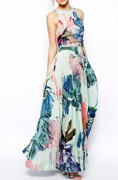 ASOS Pleated Crop Top Maxi Dress - Blue