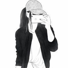 New beautiful art drawings sketches pens ideas Tumblr Girl Drawing, Tumblr Drawings, Girl Drawing Sketches, Cute Girl Drawing, Girly Drawings, Girl Sketch, Drawing Ideas, Drawing Faces, Drawing Tips