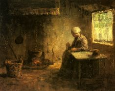 Peasant Woman by a Hearth by Jozef Israëls (Jozef Israels), Oil on canvas