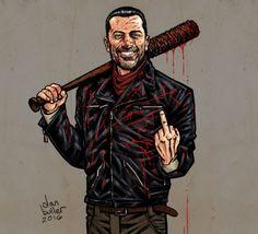 Negan fan art for Walking Dead fans. Walking Dead Tv Series, Fear The Walking Dead, Negan And Carl, Comic Book Covers, Comic Books, Walking Dead Wallpaper, Negan Lucille, Jeffrey Dean Morgan, Stuff And Thangs
