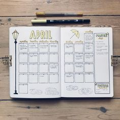 20 Monthly Spread Layouts for your Bullet Journal - Ideas and Inspiration — Square Lime Designs 30 Monthly Spread Layouts for your Bullet Journal - Ideas and Inspiration - 2020 Bullet Journal Inspo, Bullet Journal With Calendar, Minimalist Bullet Journal, April Bullet Journal, Bullet Journal Monthly Spread, Bullet Journal Aesthetic, Bullet Journal Notebook, Bullet Journal Themes, Bujo Monthly Spread