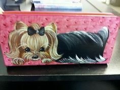 Handpainted Yorkie Pink Slim Zip Around Wallet Purse Dog Art Clutch