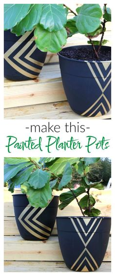 *inspiration idea   Instead of paying $50 on a planter pot, buy a cheap one and dress it up with spray paint! Easy Painted Planter Pots   Gardening   Fiddle Leaf Fig   Geometric   Painting Patterns