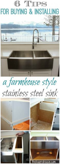 6 tips for buying and installing a farmhouse style stainless steel sink at thehappyhousie.com