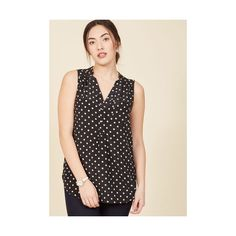 Long Sleeveless Girl About Scranton Tunic (52 CAD) ❤ liked on Polyvore featuring tops, tunics, apparel, black, sleeveless woven, woven top, polka dot sleeveless top, long length tops, dot top and long sleeveless tops