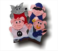 hand puppets Les Trois petits cochons You get all 4 puppets 3 Pigs 1 Wolf I have been creating AIM Language Learning Puppets since 2006 These puppets are used with the French teaching kit Puppets For Sale, Wolf, Puppet Patterns, Puppet Making, Three Little Pigs, Teaching French, Hand Puppets, Exercise For Kids, Knitted Dolls