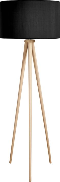 A wooden lamp, elegant and modern thanks to its beautifully slender solid beech tripod. Also available as a table lamp.