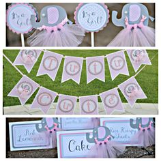Tutu Cute Pink and Grey Elephant Party-In-A-Box by Charming Touch Parties. Boutique and customizable banner, cupcake toppers and food tents.  Our boutique and completely precious Pink and Grey elephant Tutu Cute party box will add sweet custom charm to your celebration.  This listing includes: 1. Boutique Tutu Cute banner 2. 12 boutique cupcake toppers 3. 6 boutique food tents  ************************************************* BANNER: This super sweet, pink and girly custom Tutu Cute banner…