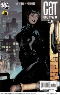 Catwoman Cover issue 48 by Adam Hughes DC Comics 2005 Gotham City, Catwoman, Comic Book Covers, Comic Books, Batman 1, Book Cover Page, Univers Dc, Wood Cat, Western Comics