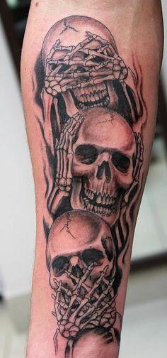 Empire Tattoos Gold Coast Australia artist Damo Gerding specialises in portraits, realism and cover ups. Tattoo skull hear no, see no, speak no evil