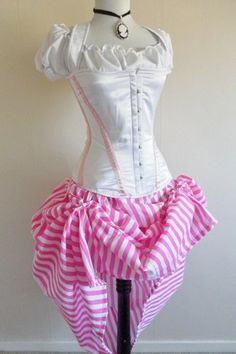 Candy Pink And White Circus Bustle Skirt