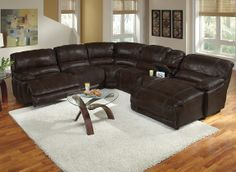 Clinton Brown Leather Collection | Furniture.com-6 Pc. Power Reclining Sectional $2,899.94