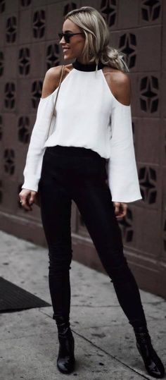 white and black / blouse + bag + skinnies + boots