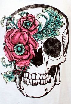 Beautiful skull and flower accent! Good for a thigh tattoo. ((: