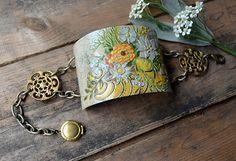 Vintage Tin Bracelet  Faded Wish by crazyfoxstudio on Etsy