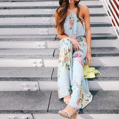 41d04739dc Floral Sleeveless Crisscross Back Boho Romper. Long JumpsuitsJumpsuits ...