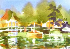 Gazebo with Statue and Fountain watercolor