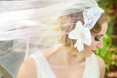 Bridal Cap Veil Silk Magnolia and Alencon by RoseRedBridalDesigns, $150.00. Photos by La Candella Weddings: http://lacandellaweddings.com
