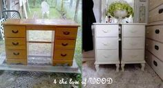 old desk into end tables....i would take the legs off one of them and then stack on top each other ....cant wait to try this one