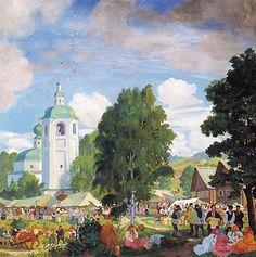 Village Fair, 1920 by Boris Kustodiev. Realism. genre painting