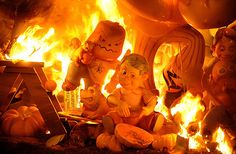 "A traditional ""ninot"" sculpture burns during the last day of the ""Fallas"" festival in Valencia, Spain"