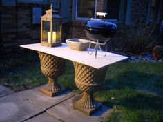 2 Urns + Plywood = Grilling Table