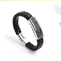 Bracelet Type: Bangles Metals Type: Stainless Steel Plating: Antique Silver Plated Material: Leather Gender: Men Diameter: 22 cm