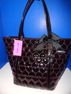 $98 Betsey Johnson Be Mine Black Patent Leather Diaper Laptop Shoulder Bag Tote | eBay