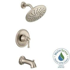 Dartmoor Posi-Temp Rain Shower 1-Handle Tub and Shower Faucet Trim Kit in Brushed Nickel (Valve Not Included)