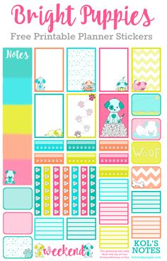 FREE Bright Puppies Planner Stickers
