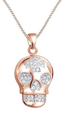 Round Cubic Zirconia Sugar Skull Cross Pendant Necklace In 14K Rose Gold Over Sterling Silver *** Find out more about the great product at the image link. (This is an affiliate link) #FashionNecklaces