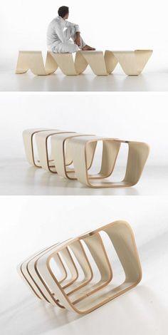 Leonardo Rossano of True Design together with Debora Mansur created a bench called DNA.: Funiture, Design Furniture