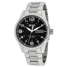 1513327 Watch Hugo boss Mens Pilot Stainless steel case Stainless steel bracelet Black dial Quartz movement Scratch resistant mineral Water resistant up to 5 ATM  50 meters 165 feet >>> Details can be found by clicking on the image.