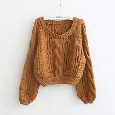 Cable Knit High-waist Loose Short Pullover Sweater - Pullovers Sweater - ideas of Pullovers Sweater - Cable Knit High-waist Loose Short Pullover Sweater Loose Shorts, Sweater And Shorts, Cropped Sweater, Sweater Outfits, Pullover Sweaters, Fall Outfits, Cute Outfits, Christmas Sweater With Lights, Christmas Sweaters For Women