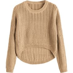 Sheer High Low Pullover Sweater Khaki ($20) ❤ liked on Polyvore featuring tops, sweaters, beige pullover sweater, sheer top, khaki top, pullover top and sheer sweaters
