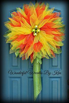 Flower+wreath+Deco+mesh+flower+wreath+deco+by+WonderfulWreathsKim