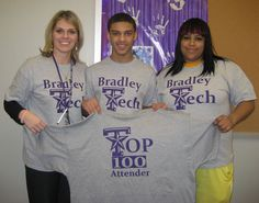 Bradley Tech families and staff had a PBIS/Attendance celebration to acknowledge the Top 100 students with outstanding attendance. Pictured above are Principal Bloyer, Justice York and his mother, Sherrie.  The Top 100 Students were treated to a pizza party, certificates and tshirt. Their parents are also congratulated with a tshirt that they will pick up at Conferences!