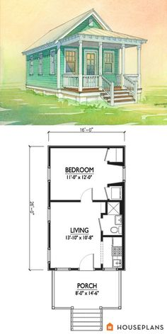 Charming tiny cottage plan by Marianne Cusato. 1 bedroom 1 bathroom coastal cottage Houseplans Plan This is good too! Add loft and voila! Guest House Plans, Cottage Style House Plans, Tiny House Cabin, Tiny House Living, Cabin Plans, Tiny House Design, Small House Plans, House Floor Plans, Guest Houses