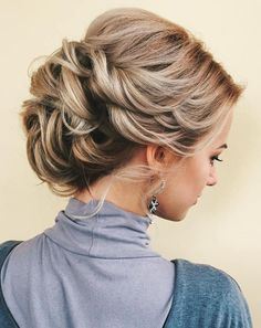 Loose Twisted Updo With A Bouffant Wedding Hairstyles Thin Hair, Thin Hair Updo, Wedding Hair And Makeup, Bun Hairstyles, Trendy Hairstyles, Updo Hairstyle, Hair Wedding, Bridal Hairstyles, Holiday Hairstyles