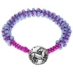 Reminiscent of summer camp lanyard creations, this brightly colored macrame bracelet expresses your love of animals with a beautiful Green Girl Studios horse design button.