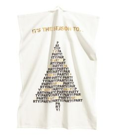 CONSCIOUS. Tea towel in organic cotton with printed Christmas motif. Hanger loop on one short side.